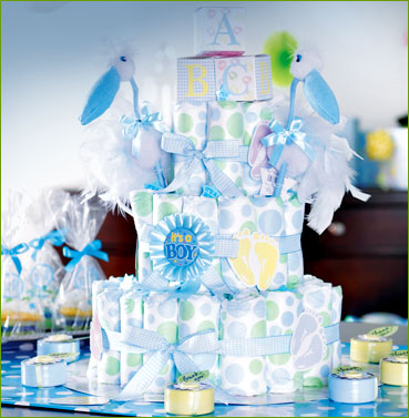 Baby Shower Centerpieces for Boys Diapers Cake