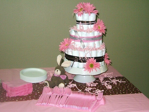 Baby Shower Centerpieces for Girls Pink Diaper Cake
