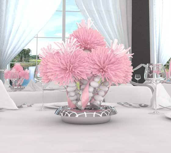 Baby Shower Centerpieces for Girls Pink Flowers