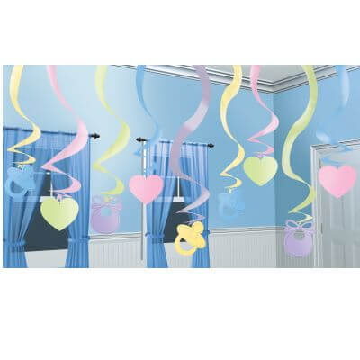 Baby Shower Decoration Ideas Hanging Swirl