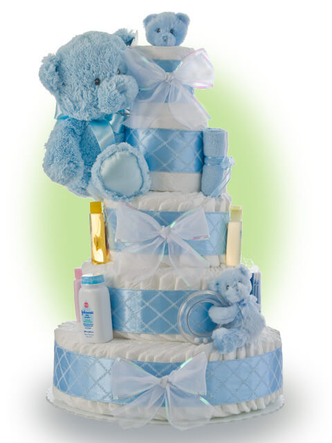 Baby Shower Diaper Cake Ideas for Boys Blue Teddy Bear