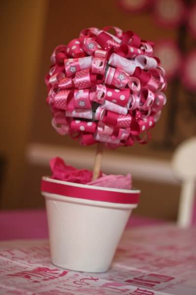 Cheap Baby Shower Decoration Ideas Ribbon Topiary