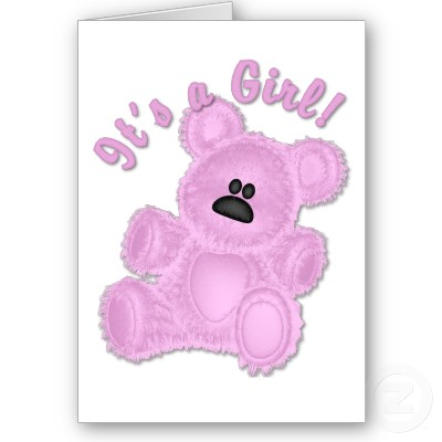 Pink Teddy Bear Baby Shower Invitation Cards for Girl