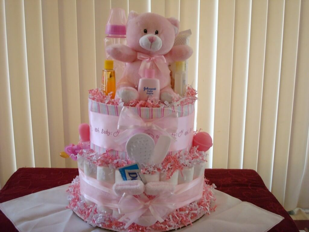 Pink Teddy Bear Diaper Cake for Girl