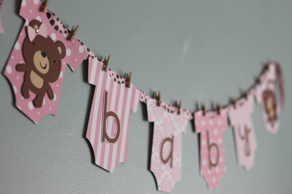 Teddy Bear Banner Baby Shower Decoration for Girl