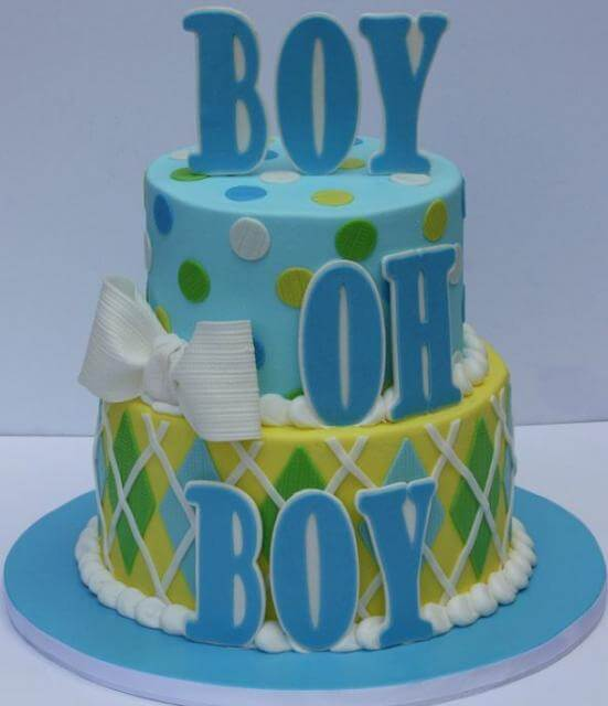 Two Tier Round Baby Shower Cake for Boys