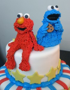 baby shower cake for boys Elmo Cookie Monster
