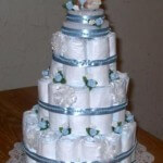 Baby Shower Cake for Boys Made from Diapers