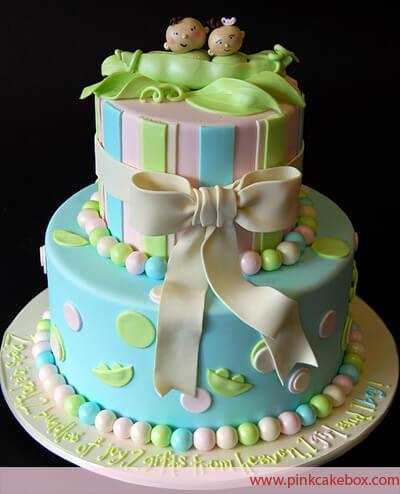 Houndstooth Baby Shower Cake   Custom Baby Shower Cakes